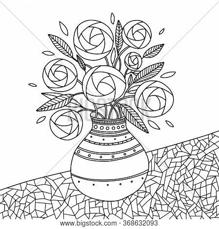 Wreath Of Floral (ranunculus) In A Vase. Coloring Book Page For Adults And Child. Design For Relax A