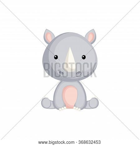Cute Little Rhino Sitting. Adorable Cartoon Animal Character For Decoration And Design Of Album, Scr