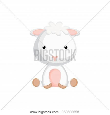 Cute Little Sheep Sitting. Adorable Cartoon Animal Character For Decoration And Design Of Album, Scr