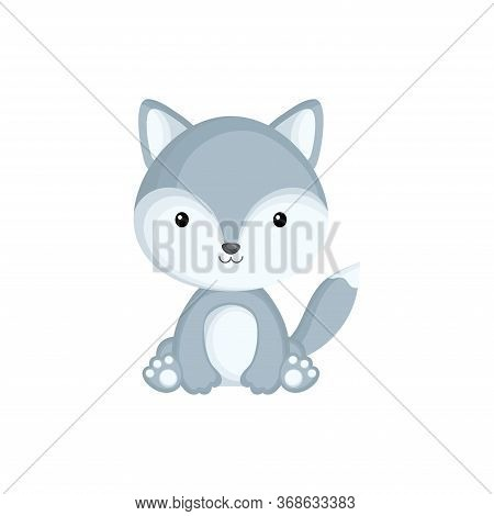 Cute Little Wolf Sitting. Adorable Cartoon Animal Character For Decoration And Design Of Album, Scra