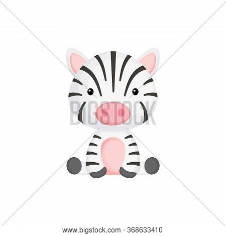 Cute Little Zebra Sitting. Adorable Cartoon Animal Character For Decoration And Design Of Album, Scr