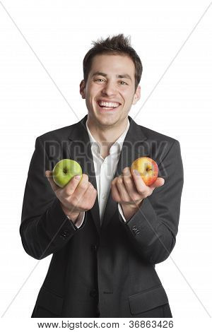 Young Professional With Two Apples
