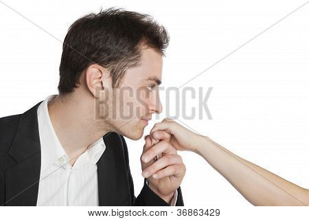 Young Professional Kissing Female Hand