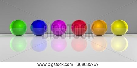 Complementary Colored Spheres With Reflections. 3d Illustration