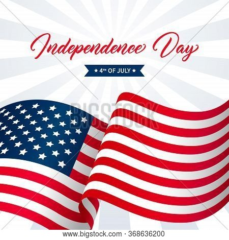 United States Independence Day Greeting Card Design. Modern Handwritten Text. Independence Day 4th O