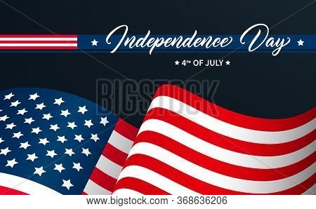 United States Independence Day Greeting Card Design. Modern Calligraphic Text. Usa Independence Day