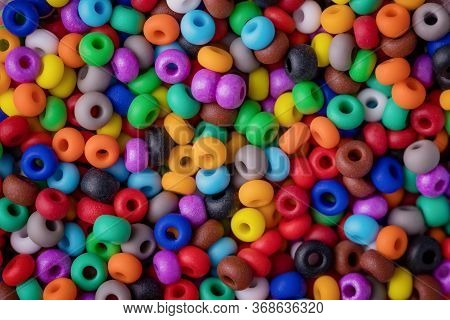 Beads Texture Background. Colorful Round Small Beads, Full Frame Shot