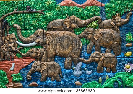 Elephant and forest painting on thai temple wall poster