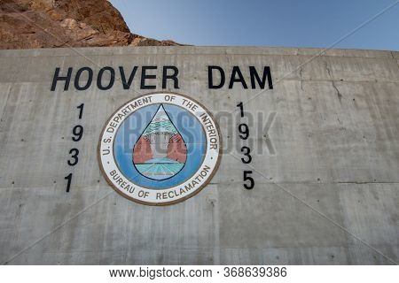 Boulder City, Nevada, Usa - February 18, 2020: Sign And Logo For The Hoover Dam In Nevada. The Hydro