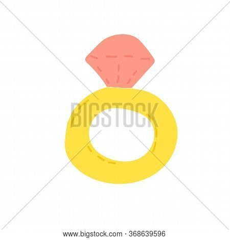 Hand Drawn Doodle Ring With Stone, Childisj Jewelry. Simple Vector Illustration With Pink Stone And