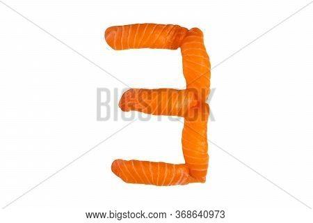 Sushi Alphabet Number Three Isolated On White Background. Number
