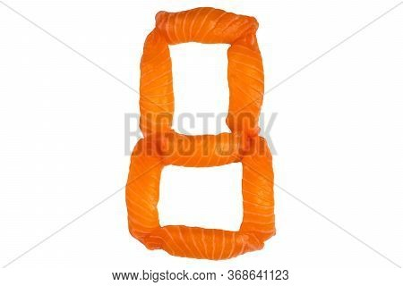 Sushi Alphabet Number Eight Isolated On White Background. Number