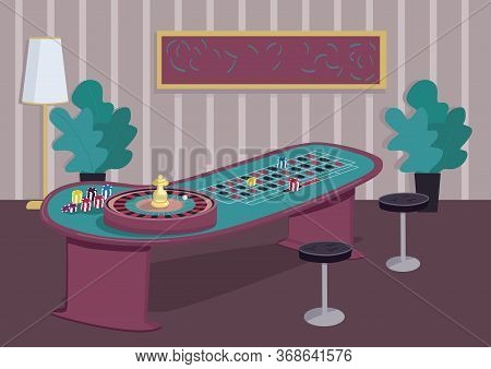 Roulette Table Flat Color Vector Illustration. Gambling Game To Win Bets. Put Stake On Red. Chips On