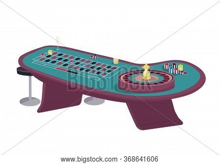 Casino Cartoon Vector Illustration. Roulette Table Flat Color Object. Spin Wheel And Make Bet. Put S