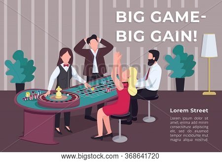 Big Game Big Gain Poster Flat Vector Template. Man And Woman Near Roulette Table. Bet On Red. Stake