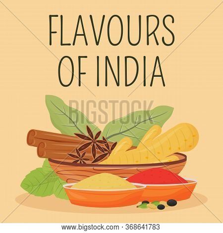 Indian Social Media Post Mockup. Flavours Of India Phrase. Web Banner Design Template. Traditional C