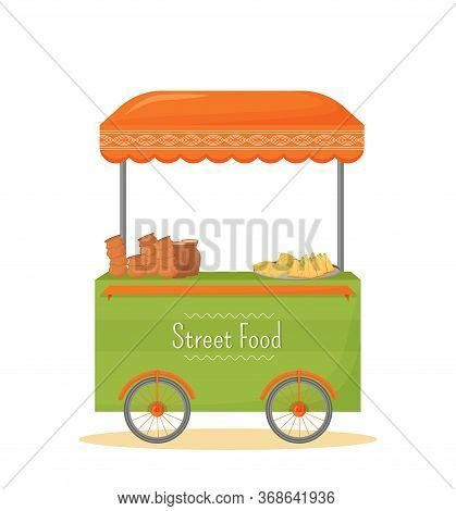 Street Food Mobile Kiosk Cartoon Vector Illustration. Indian Traditional Cuisine Trade Stall Flat Co