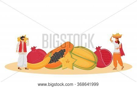 Indian Cuisine, Served Tropical Fruits Flat Concept Vector Illustration. Indian Servants, People Car