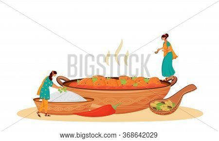 Matar Paneer Serving Flat Concept Vector Illustration. Female Indian Cooks, Women In Sari Preparing