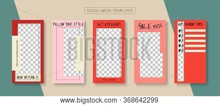 Modern Stories Vector Background. Online Shop Luxury Invitation Phone. Tech Sale, New Arrivals Story