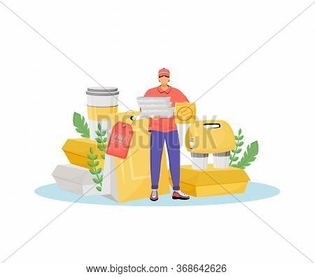 Free Delivery Flat Concept Vector Illustration. Pizza Deliveryman With Paper Packages, Fast Food Cou