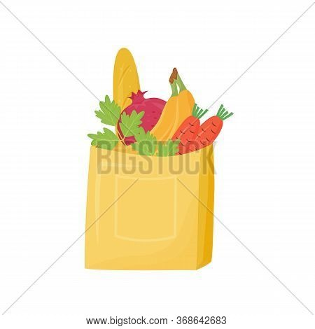 Products In Paper Bag Cartoon Vector Illustration. Packed Baguette, Fruits And Vegetables Flat Color