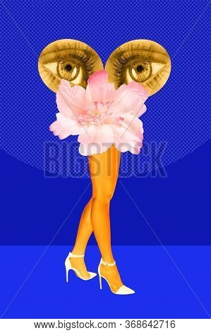 Flower Buds, Eyes And Womens Beautiful Legs In Acid Color Tights And High Heels Shoes On A Colorful