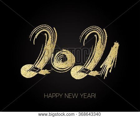 2021 Gold Brushstroke Banner. Happy New Year Elegant Business Background. Painted 2021 Modern Minima