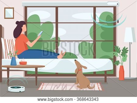 Smart Home Control Flat Color Vector Illustration. Girl Controlling Automated Jalousie And Vacuum Cl