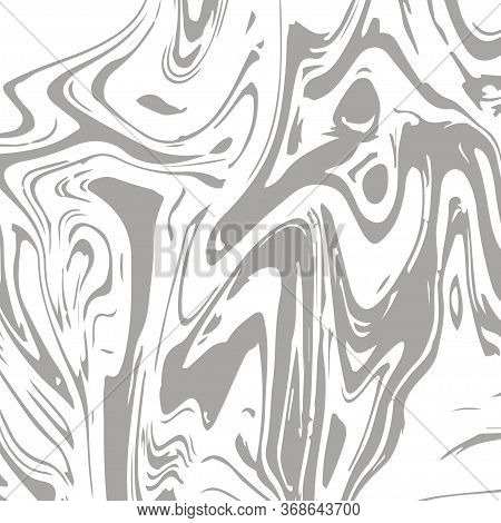 Gray Marble Texture Vector Square Liquid Ink Background. Liquid Paint Suminagashi Trendy Pattern For