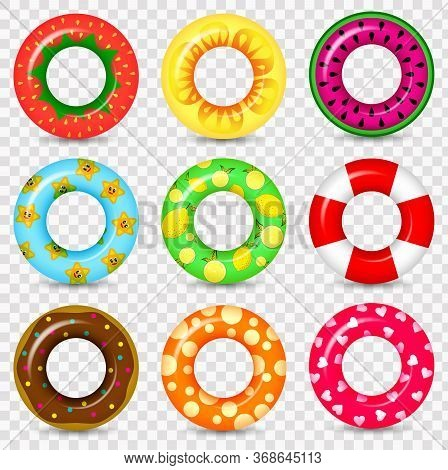 Swimming Ring Colorful Rubber Toy Realistic Icons. Summer, Water And Beach Theme, Lifebuoy Flat Vect