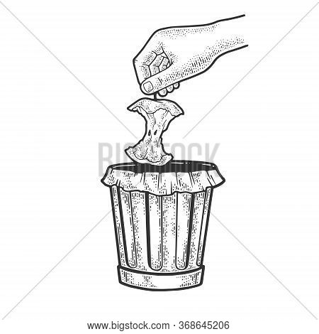 Hand Throws Apple Stub Into Trash Sketch Engraving Vector Illustration. T-shirt Apparel Print Design