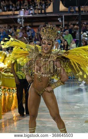 Rio, Brazil - February 24, 2020: Parade Of The Samba School Sao Clemente, At The Marques De Sapucai
