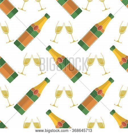 Champagne Bottle Seamless Pattern. Happy New Year. Lets Celebrate. Cheers. Champagne Celebration. Al