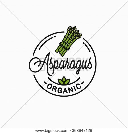 Asparagus Vegetable Logo. Round Linear Bunch White