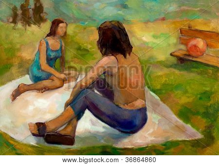 Original oil painting on canvas showing two women on picnic in the park. Modern Impressionism poster