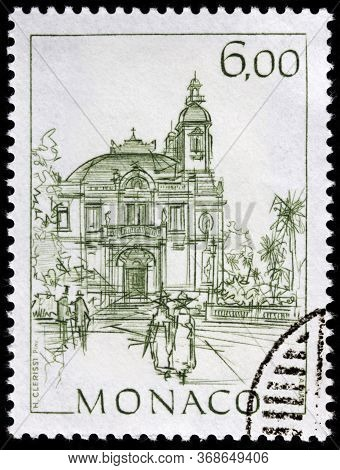 Luga, Russia - April 10, 2020: A Stamp Printed By Monaco Shows View Of The Opera Of Monte Carlo, Cir