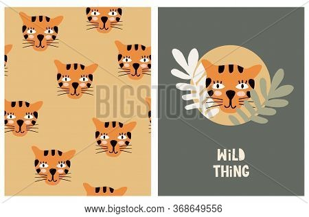 Wild Thing. Funny Safari Party Vector Illustration And Seamless Pattern. Cute Repeatable Print With