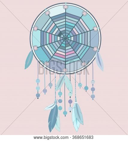 Vector Illustration Pink Blue Colored Image Of Dreamcatcher With Feathers