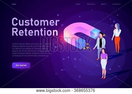Customer Retention Conceptual Illustration, Webpage Landing Template. Big Magnet Attracts Customers,