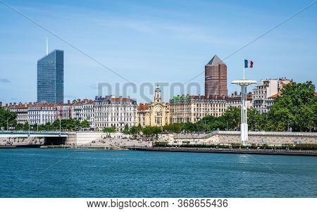 Lyon France, 24 May 2020 : View Of Rhone River And Riverbank Full Of People During The First Phase O