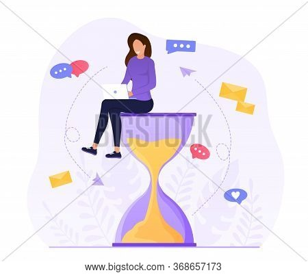 Multitasking Concept. Attractive Woman Sitting On An Hourglass And Working On A Laptop. Productive W