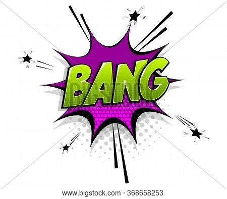 Comic Text Bang Boom On Speech Bubble Cartoon Pop Art Style. Colorful Halftone Speak Bubble Cloud Ba