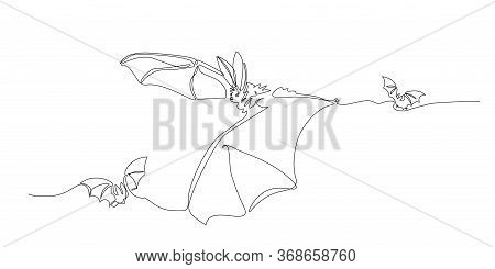 Flying Long-eared Bats, Bloodsucker, Symbol Of Vampire, Midnight & Halloween Holiday, Vector Illustr