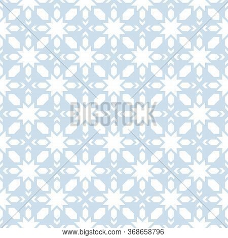 Vector Geometric Seamless Pattern. Abstract Light Blue And White Texture With Stars, Crosses, Diamon