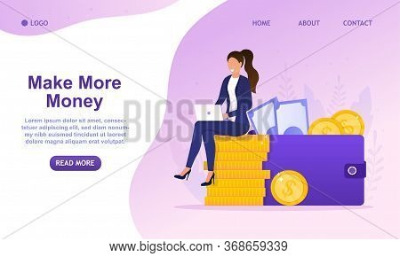 Young Successful Business Woman Sitting A Stack Of Coins And Looks At The Laptop. Female Makes Money