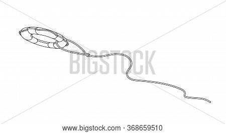 Throwing Lifebuoy On A Rope, Symbol Of Salvation, Concept Of Helping A Drowning Person, Vector Illus