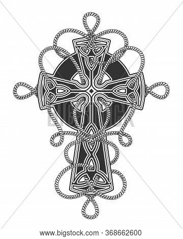 Celtic Cross Entwined By Ropes Tattoo In Engraving Style. Vector Illustration.