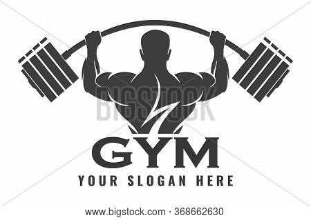 Fitness Logo Design Template, Design For Gym And Fitness Club. Logo With Exercising Athletic Man. Ve