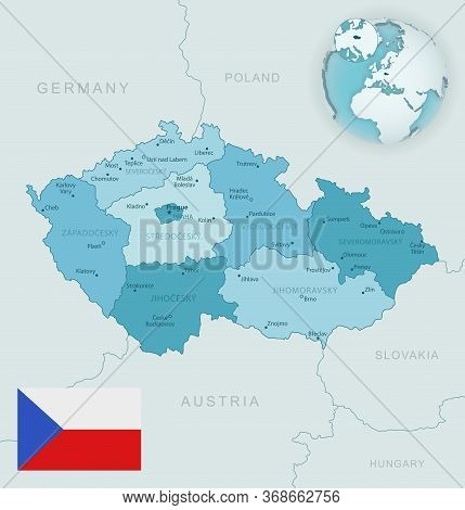 Blue-green Detailed Map Of Czech Republic Administrative Divisions With Country Flag And Location On